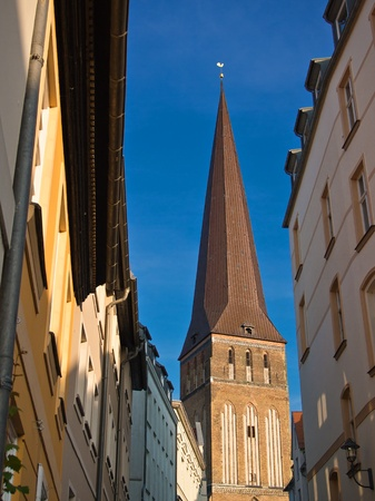 View to the Petrikirche in Rostock (Germany).