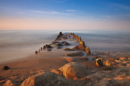 Groyne on shore of the Baltic Sea.