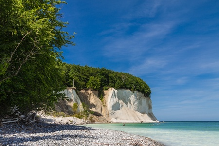Chalk cliffs on shore of the Baltic Sea on the island Ruegen  Germany   Stock Photo