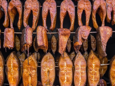 Smoked fish in a smoker  Stock Photo