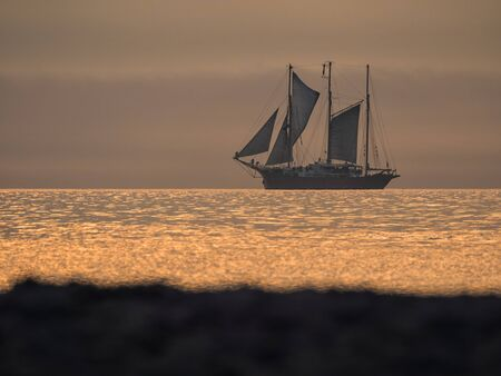 A sailing ship on the Baltic Sea in sunset  photo