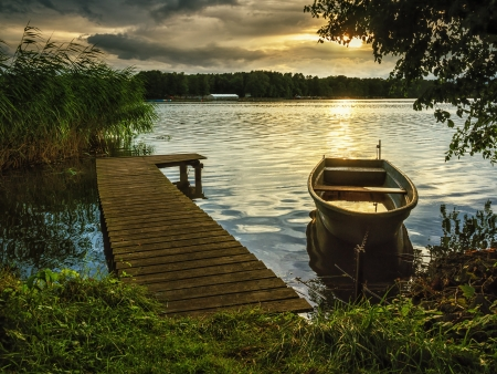 boat dock: Sunset on a lake  Stock Photo