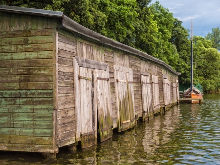 boathouse: A boathouse on a lake  Stock Photo