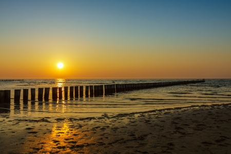 Sunset on shore of the Baltic Sea