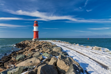 Mole in Warnemuende  Germany  in winter time  Editorial