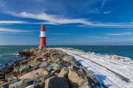 Mole in Warnemuende  Germany  in winter time  Editorial