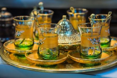 Tea cups on a bazaar in Istanbul  Turkey