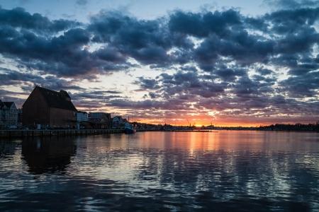 rostock: Sunset in the port of Rostock  Germany   Stock Photo