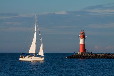 Sailing boat on the Mole in Warnemünde  Germany