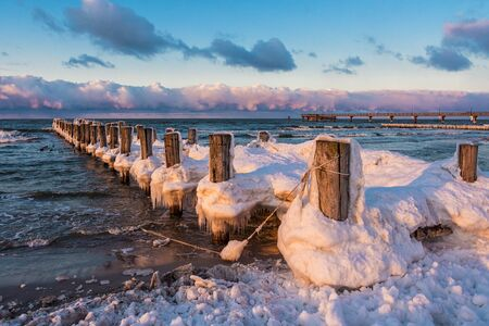 Groynes on shore of the Baltic Sea  photo