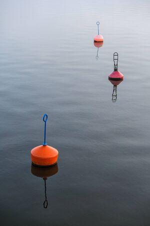 rostock: Buoys in the City Port of Rostock  Germany   Stock Photo