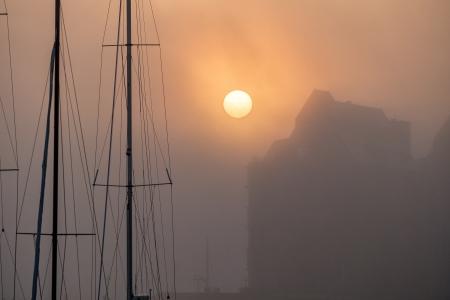 rostock: Sunrise in the city port of Rostock  Germany