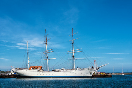 A windjammer in the port of Stralsund  Germany