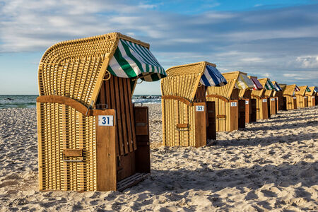 Beach chairs on shore of the Baltic Sea  Stock Photo