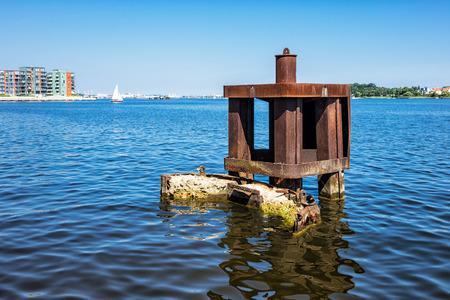 reside: Buildings in the city port in Rostock  Germany   Stock Photo