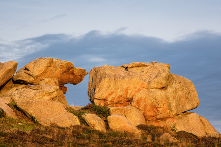 ploumanach: Rocks in the Brittany near Ploumanac?h (France). Stock Photo