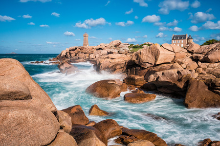 Atlantic ocean coast in Brittany near Ploumanac?h (France). Stok Fotoğraf