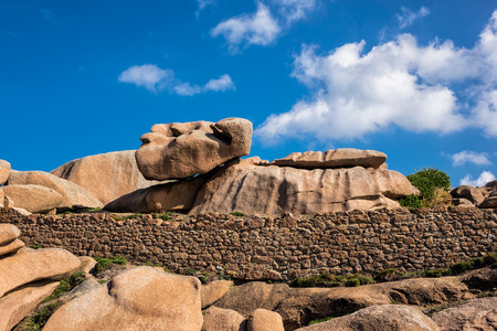 cote de granit rose: Rocks in the Brittany near Ploumanach (France). Stock Photo
