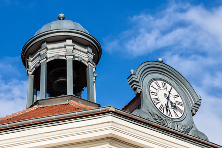 pavilon: Roof with tower and clock in Radebeul (Germany). Editorial