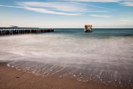 groyne: Groyne and jetty ruin on the Baltic Sea coast.