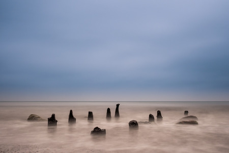 nger: Groynes on shore of the Baltic Sea.