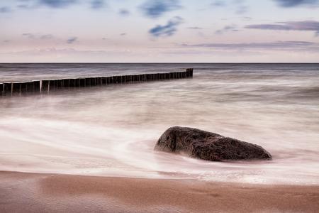baltic sea: Groynes on shore of the Baltic Sea.