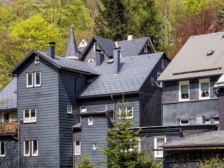 Roof slate houses in the Thuringian Forest (Germany).