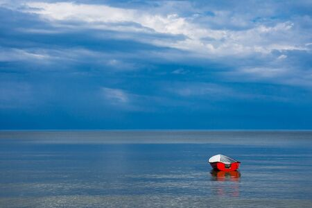 baltic sea: Fishing boat on shore of the Baltic Sea.