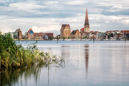 rostock: View to Rostock (Germany) in the evening. Stock Photo