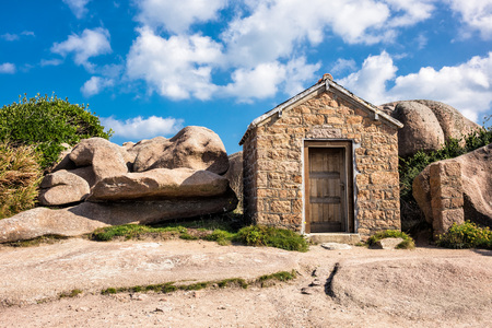 cote de granit rose: Building in the Brittany near Ploumanach (France).