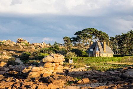 ploumanach: Rocks in the Brittany near Ploumanach (France). Stock Photo