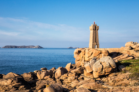 cote de granit rose: Atlantic ocean coast in Brittany near Ploumanach (France). Stock Photo
