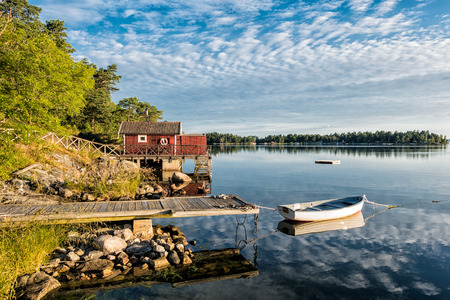 Archipelago on the Baltic Sea coast in Sweden. 版權商用圖片