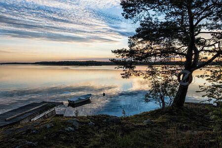 sunup: Archipelago on the Baltic Sea coast in Sweden. Stock Photo