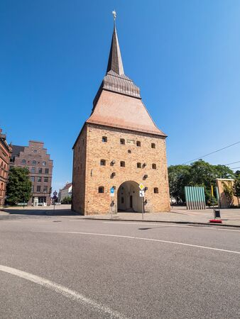 town idyll: Historical buildings in Rostock (Germany) with blue sky.