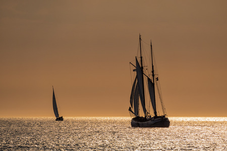 rostock: Sailing ships on the Baltic Sea in Rostock (Germany). Stock Photo