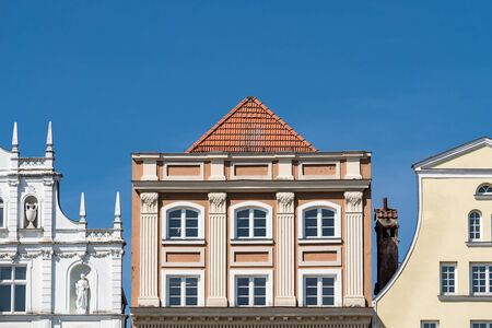 historical buildings: Historical buildings in Rostock (Germany) with blue sky.