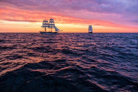 sailing boats: Sailing ships on the Baltic Sea in Rostock (Germany). Stock Photo