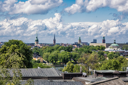 town idyll: View to the capital of Sweden, Stockholm. Stock Photo
