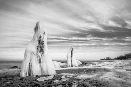 baltic sea: Winter on shore of the Baltic Sea.