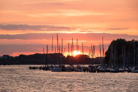 rostock: City port in Rostock Germany with sunset. Stock Photo