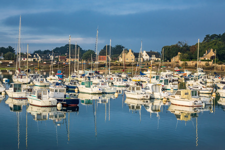brittany: Port in Brittany in France Ploumanach. Stock Photo