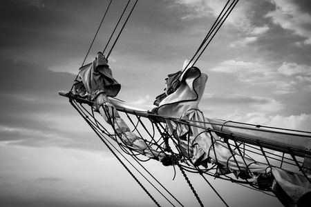 rostock: Detail of a sailing ship on the Baltic Sea in Rostock (Germany).