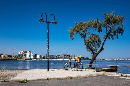 reside: Promenade in the city port in Rostock (Germany). Stock Photo
