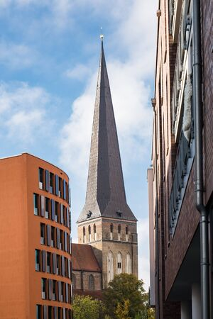 rostock: View to a church in Rostock (Germany).