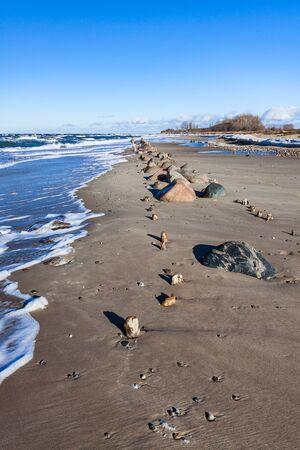 groyne: Groynes on shore of the Baltic Sea.
