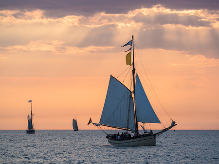 rostock: Sailing ships on the Baltic Sea in Rostock (Germany). Editorial