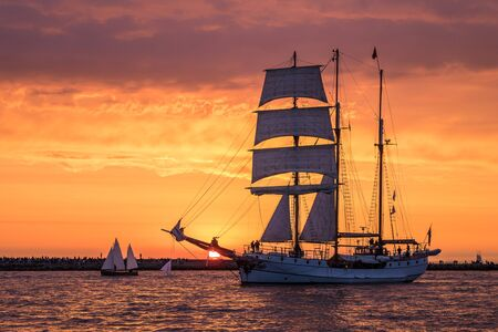 sailing boats: Sailing ship on the Baltic Sea in Rostock (Germany).