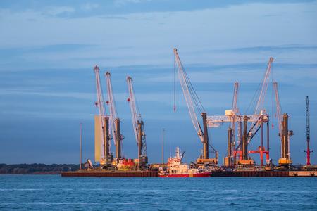 rostock: Cranes in the port of Rostock (Germany).