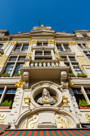 house gables: Historical buildings in Brussels (Belgium) with blue sky.
